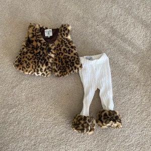MudPie Leopard Cheetah Vest & leggings Sz 12 18 Mo